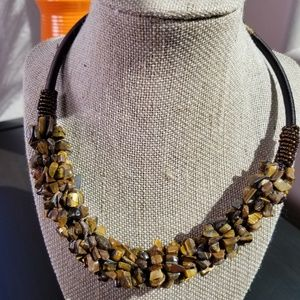 Fashion Cluster Style Tiger's Eye Necklace